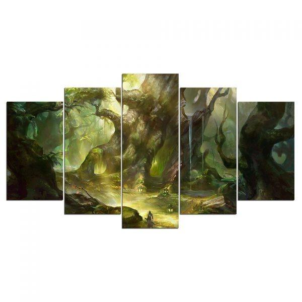 5 Panel Green Tree Abstract Fairy Tale Forest Canvas Art😊