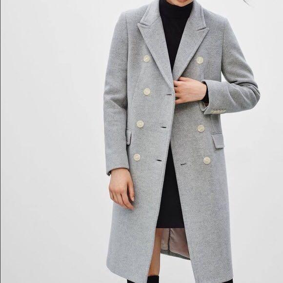 Aritzia Babaton Bryan heather light grey Wool coat