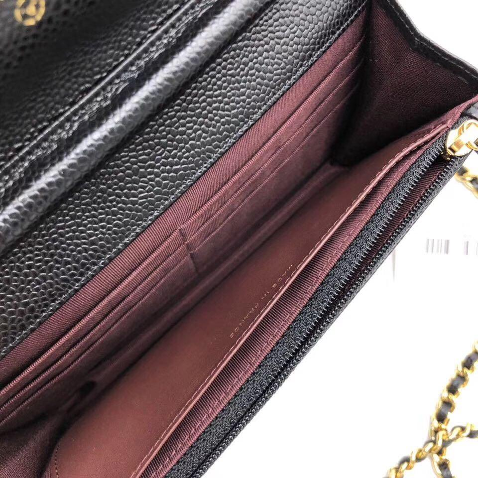 Authentic Brand New Chanel Wallet On Chain Black Quilted Caviar Leather GHW