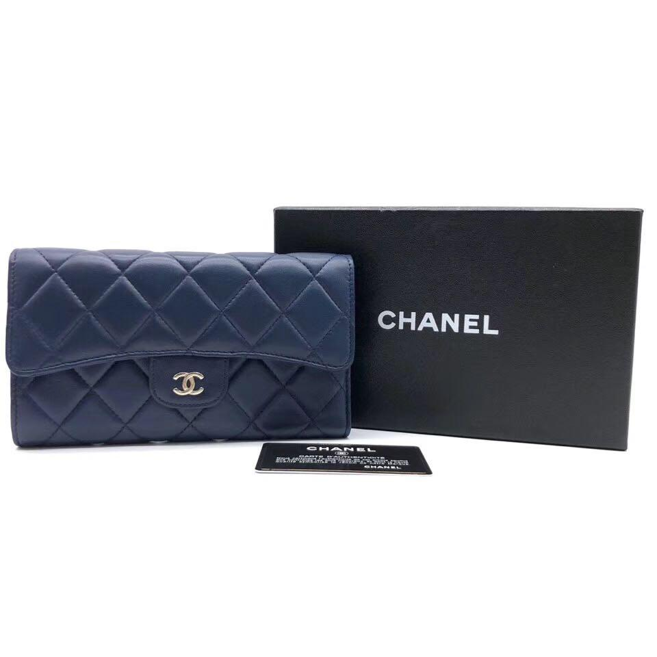 Authentic Pre-loved Chanel Classic Dark Blue Lambskin Long Flap Wallet SHW