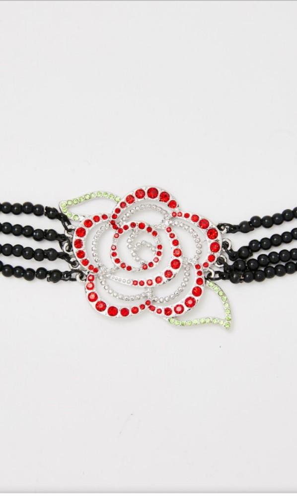 Beaded Rose Necklace choker retro 90s glam costume crystal deco