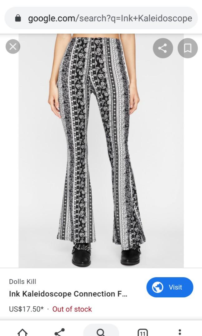 Black White monochrome boho print stretchy yoga flare bell bottom pants medium