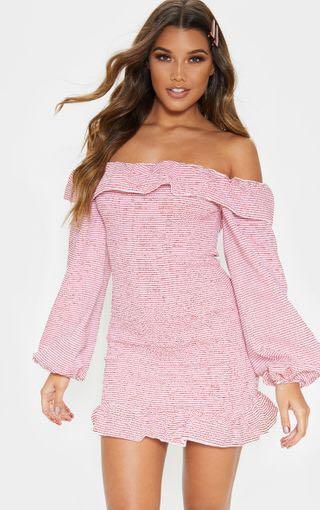 Brand New PLT Red Stripe Bardot Shirrerd Frill Dress - 8