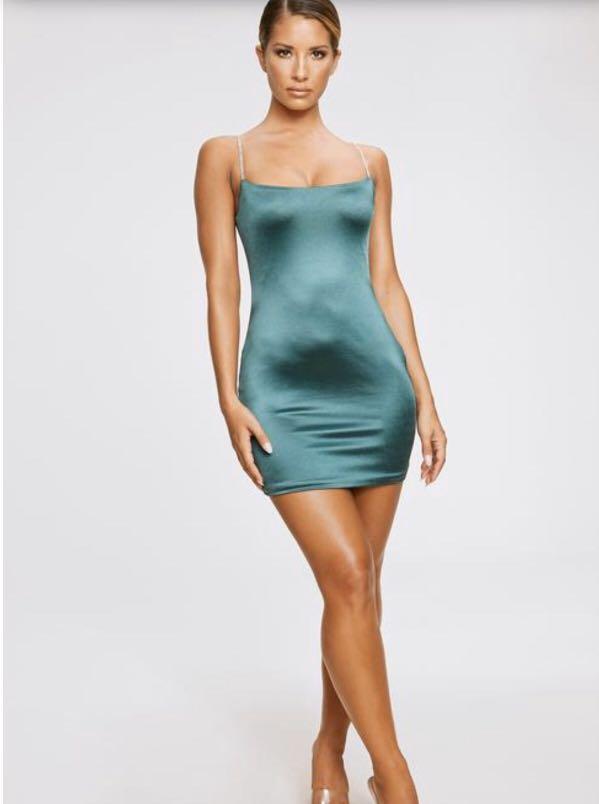 BRAND NEW UNOPENED Meshki Ruby Diamante Satin Mini Dress Emerald Green
