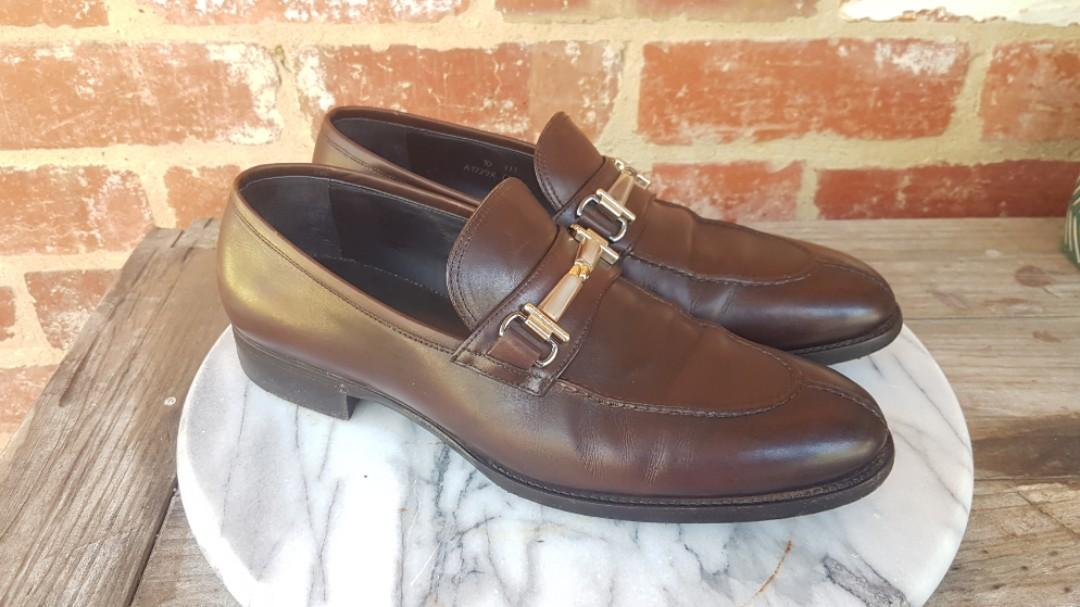 Ermenegildo Zegna xxx Couture Brown Leather Dress Loafer Shoes 10.5US Good Year