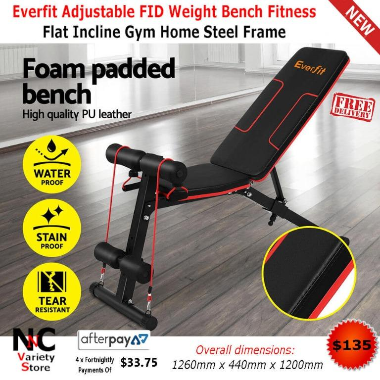 Everfit Adjustable FID Weight Bench Fitness Flat Incline Gym Home Steel Frame
