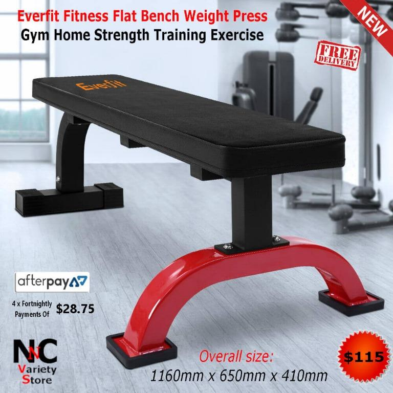Everfit Fitness Flat Bench Weight Press Gym Home Strength Training Exercise