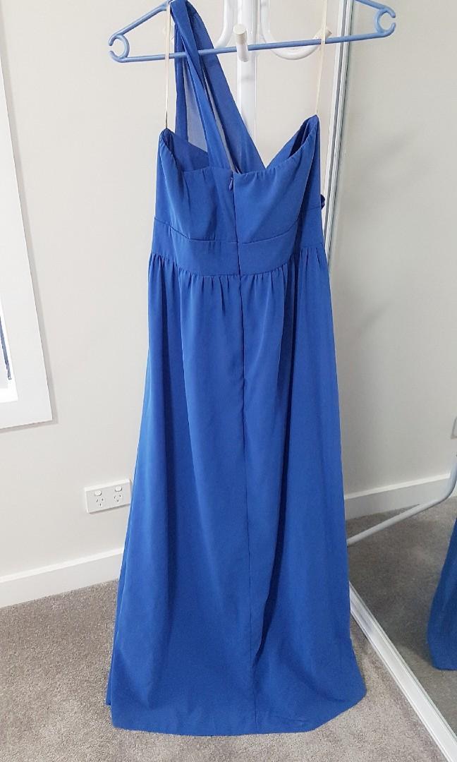Forcast blue one shoulder maxi evening dress size 12 RP$90