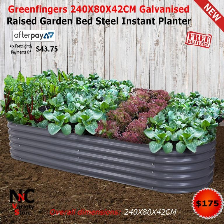 Greenfingers 240X80X42CM Galvanised Raised Garden Bed Steel Instant Planter