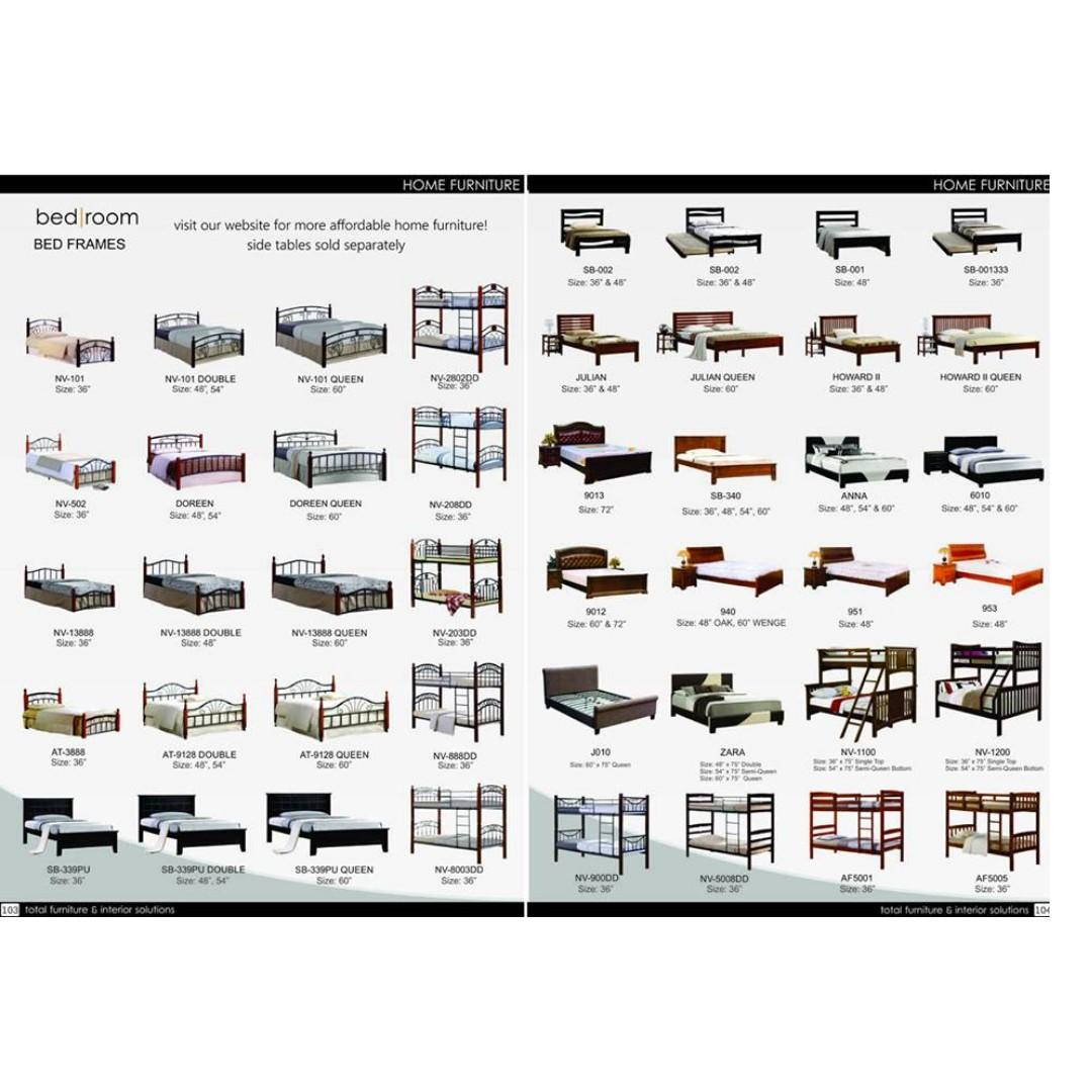 Home Furniture Bed Frames Queen Size, Double Size, Single Size, Double Deck Bed Bunk Bedframes