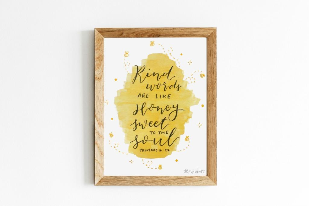 Kind Words Are Like Honey - Proverbs 16:24 | Cute CARD/ARTWORK