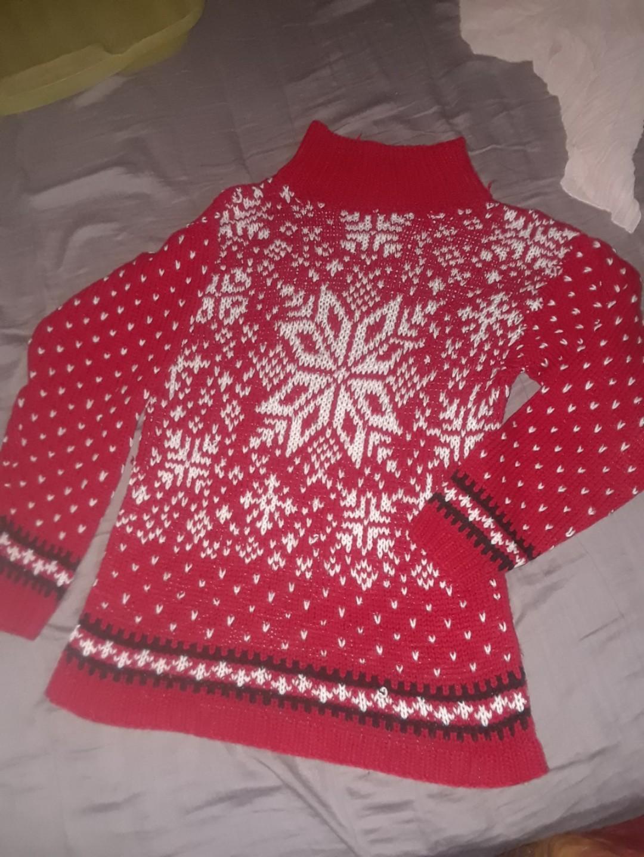 Knit Christmas holiday festive sweater red folk classic collar vintage snowflake small / medium