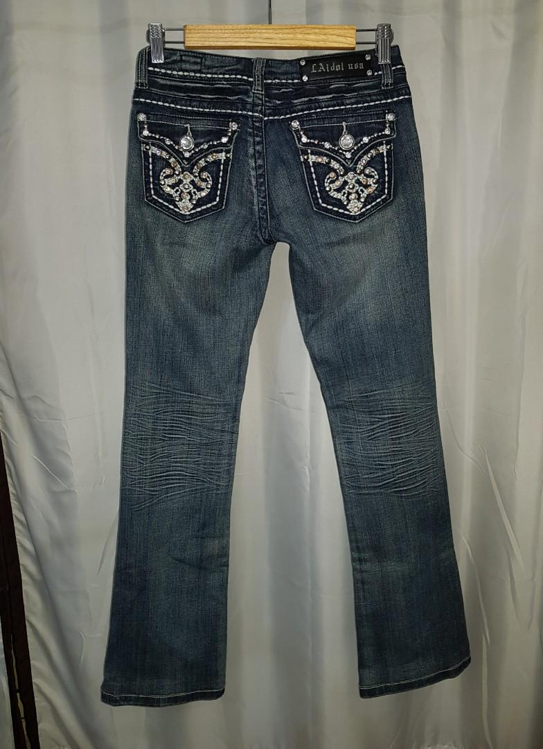 LA Idol USA Women's Blue Bootcut Jeans with Jewels