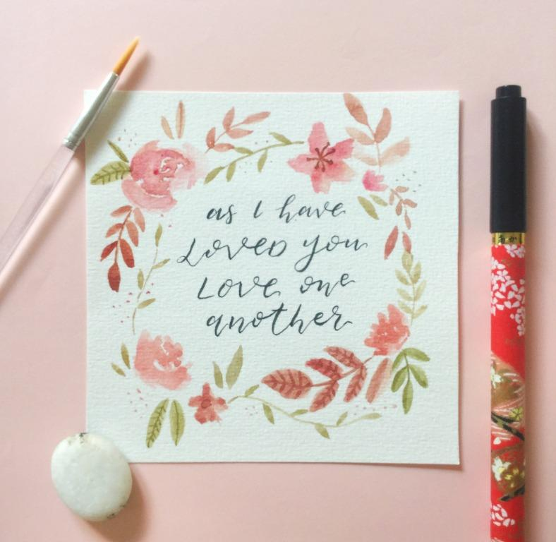 Love One Another - John 13:34 | Handmade CARD/PAINTING