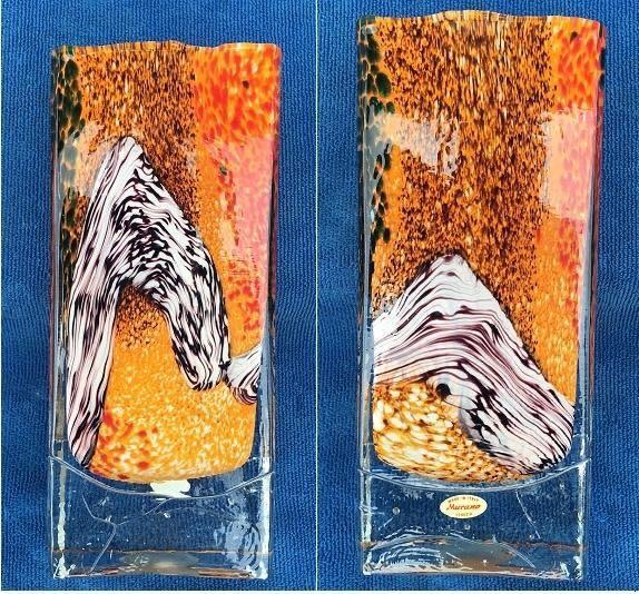 "NEW! IN BOX 9.5"" ART GLASS ORANGE GEM BLOCK VASE COLLECTIBLE"