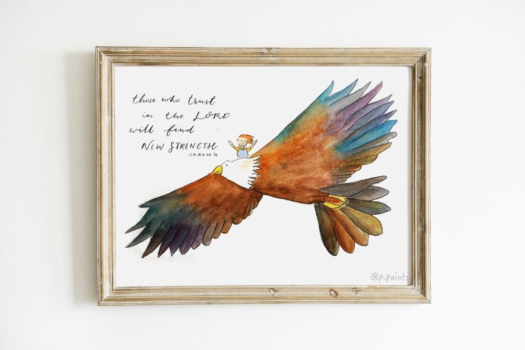 New Strength - Isaiah 40:31 | Cute Illustration CARD/ARTWORK