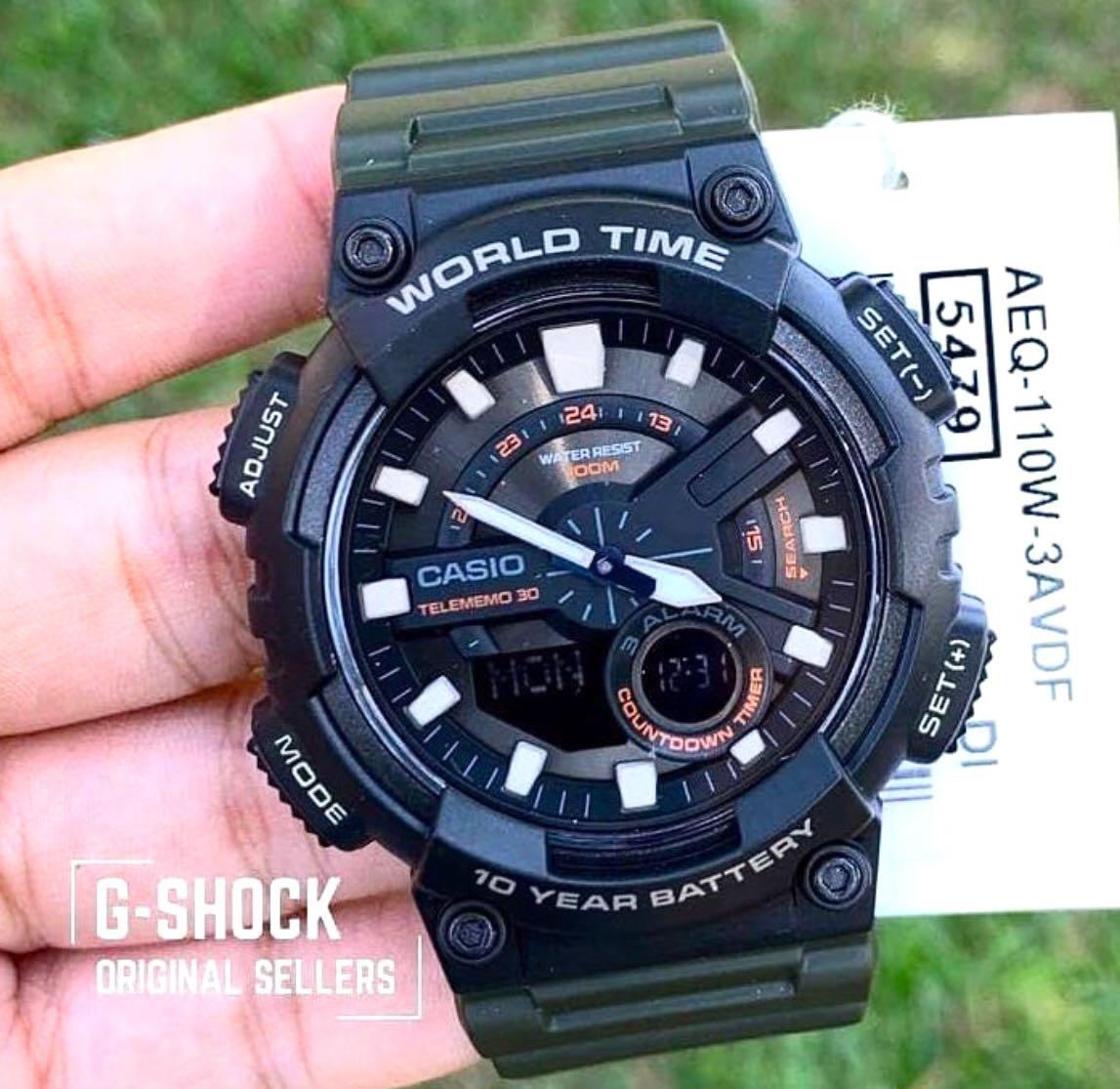 NEW🌟CASIO DIVER UNISEX SPORTS WATCH : 100% ORIGINAL AUTHENTIC : By BABY-G-SHOCK ( GSHOCK ) COMPANY : AEQ-110W-3AVDF-5479 (MILITARY-GREEN RAINFOREST)