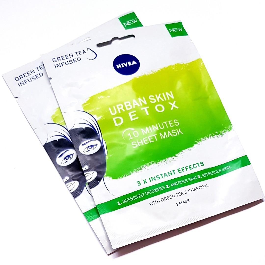 Nivea Urban Skin Detox Green Tea & Charcoal Infused 10 Minute Face Facial Sheet Masque Mask