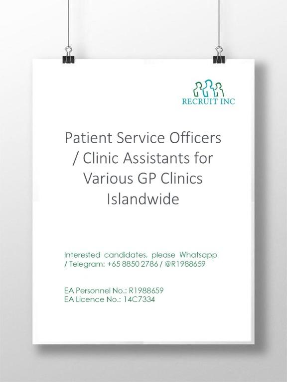 Patient Service Officers / Clinic Assistants (Islandwide)