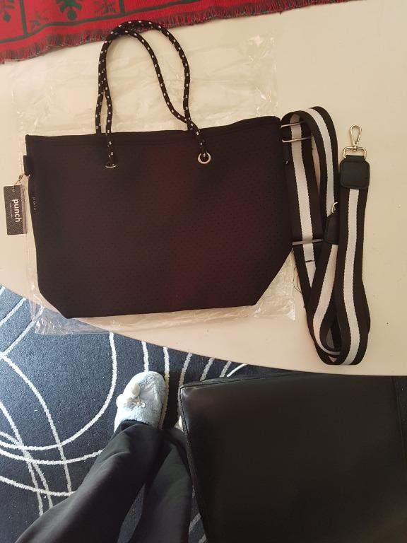 PUNCH Neoprene Tote Bag with Striped Strap - Black. BNWT