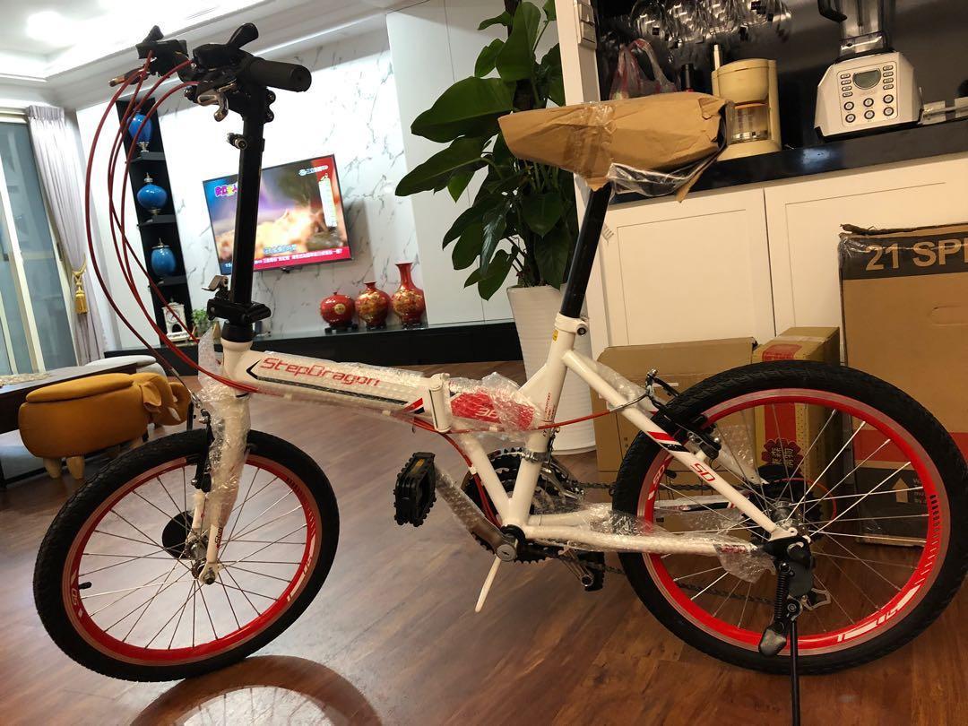 StepDragon SF380 折疊腳踏車 21 速 自行車 紅白