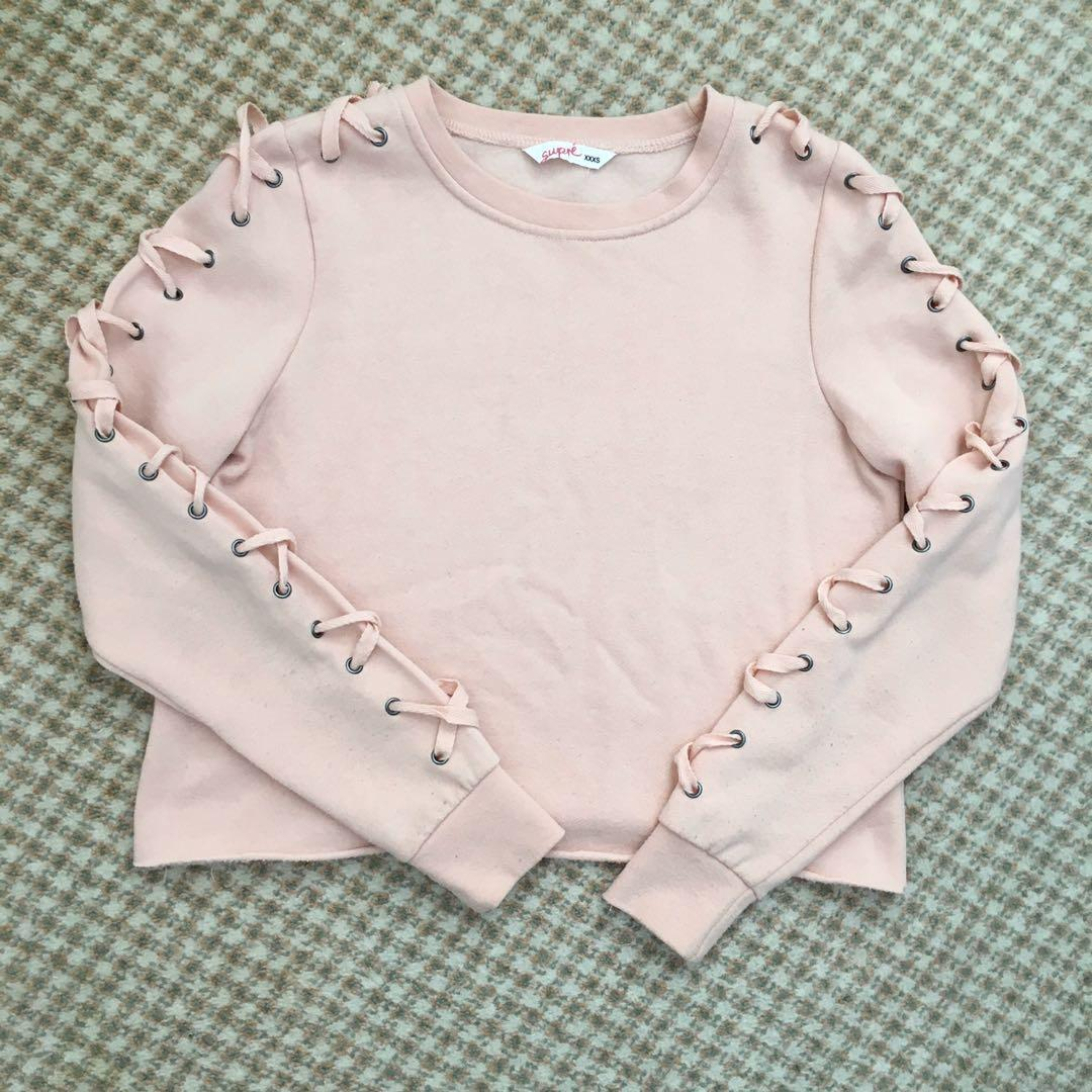 Supre Size 8 Baby Pink Lace Up Corset Long Sleeve Sweater Jumper