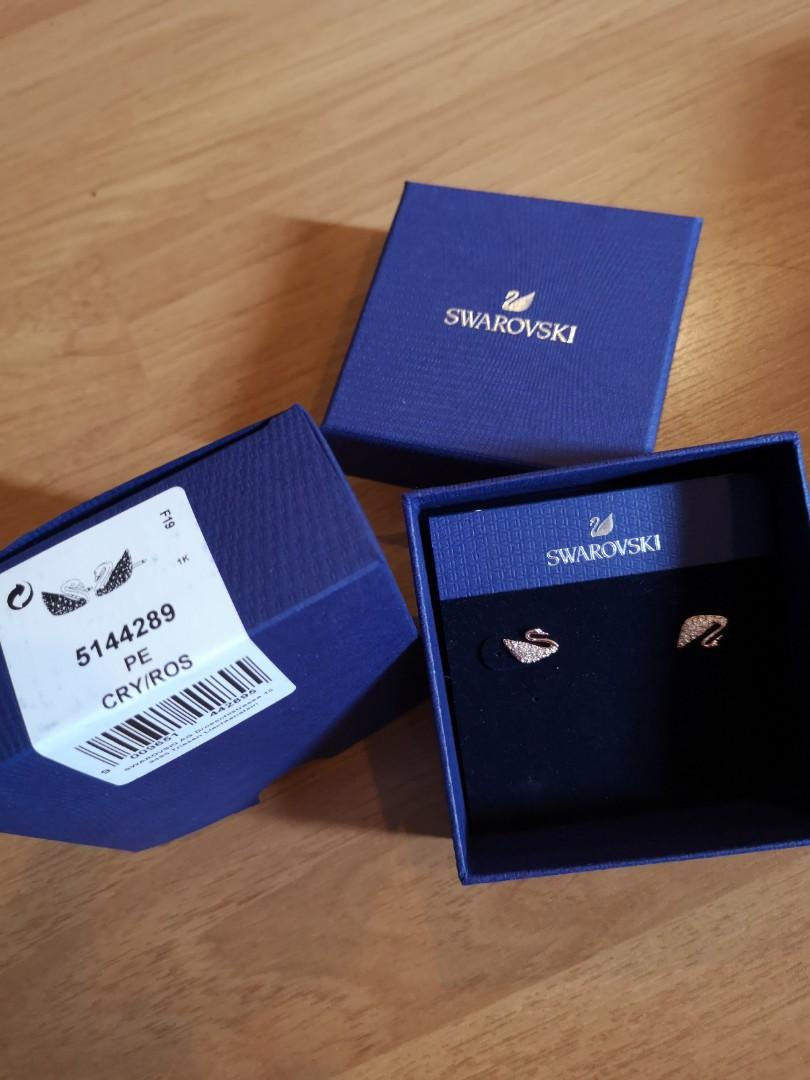 Swarovski NEW Earrings Iconic Rose Gold Swan 5144289 PE CRY/ROS bought with warranty ends Dec 2021