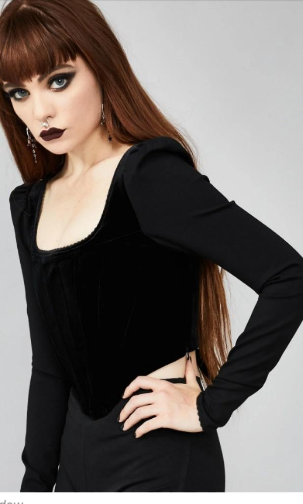 Widow brand gothic velvet bodice long sleeve lace up corset back square neck top medieval witch crop S / XS