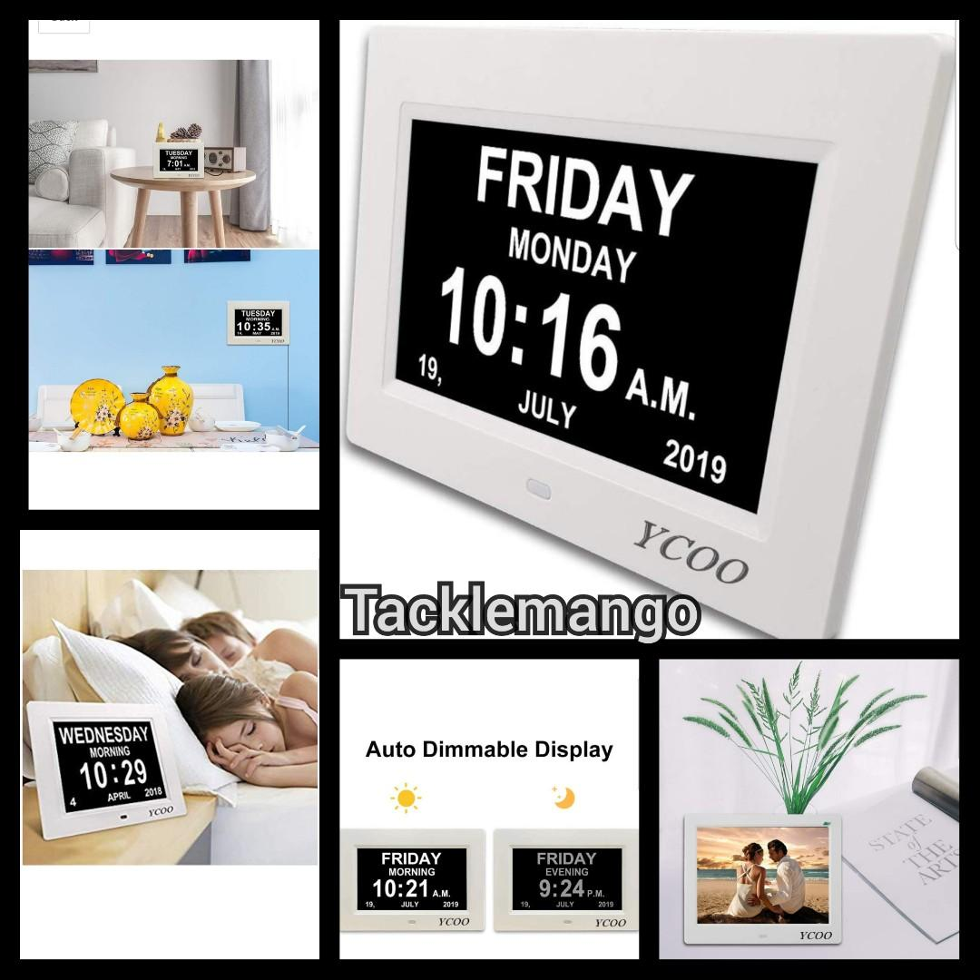 2019 Newest Digital Day Calendar Alarm Clock- 12 Alarms,Non-Abbreviated Day /& Month Memory Loss clock for Seniors 7 Black YCOO Dementia Clock With Digital Photo Frame