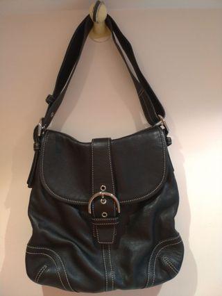 COACH-9480 黑色真皮女士肩背,斜背兩用包,#聖誕禮物