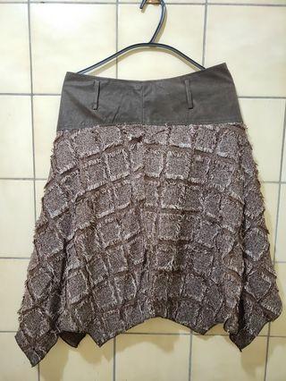 【全新】不規則裙襬及膝裙(深咖啡色 XL)#出清2019