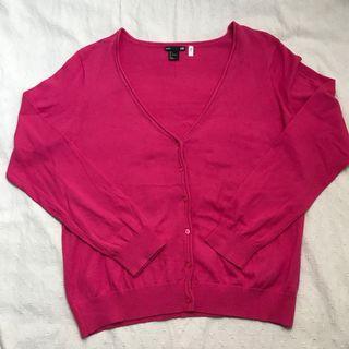 全新 H&M 粉紅色 V字領長袖外套L 毛衣針織外套