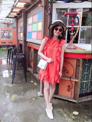 前後橘色荷葉棉麻洋裝