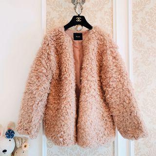 專櫃日本正品牌 titivate  乾燥玫瑰色裸粉色系 滿載QQ羊絨感溫暖毛毛 毛料毛呢蓬蓬感熊寶貝 保暖蓬鬆大衣外套 羊羔毛外套 QQ毛外套