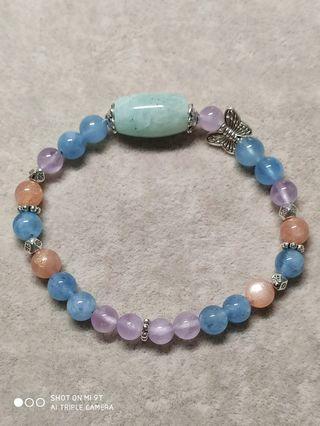 天河石/海水藍寶/太陽石/薰衣草紫水晶手鍊