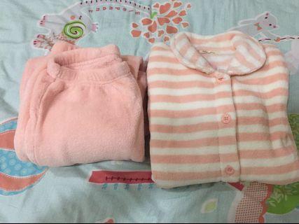 日本購入 全新Tutuanna 冬天保暖珊瑚絨睡衣睡褲組 (橘條紋)