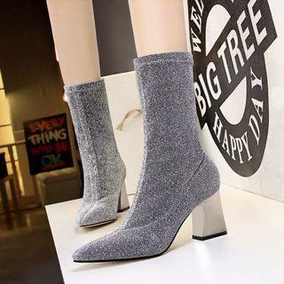 秋冬新款銀跟閃亮彈力針織靴·尺碼37