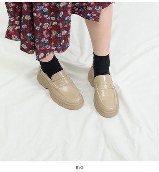 [二手|免運]日本正品 Snidel 米色厚底樂福鞋 23.5cm