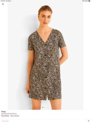 Mango leopard print buttoned printed dress