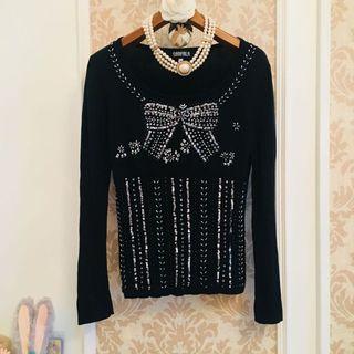 專櫃單品 Sanfala 黑色圓領子  華麗串珠亮片重工加工蝴蝶結繡飾  彈性針織毛料棉 長袖美衫上衣