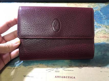 Cartier卡地亞酒紅色經典中夾