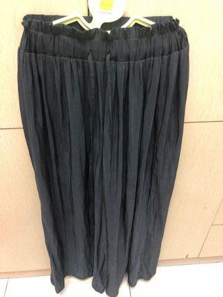 黑色綁帶雪紡褲裙
