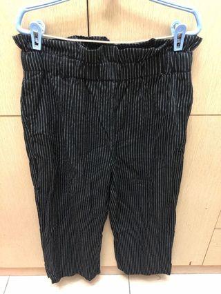 黑色條紋棉麻寬褲