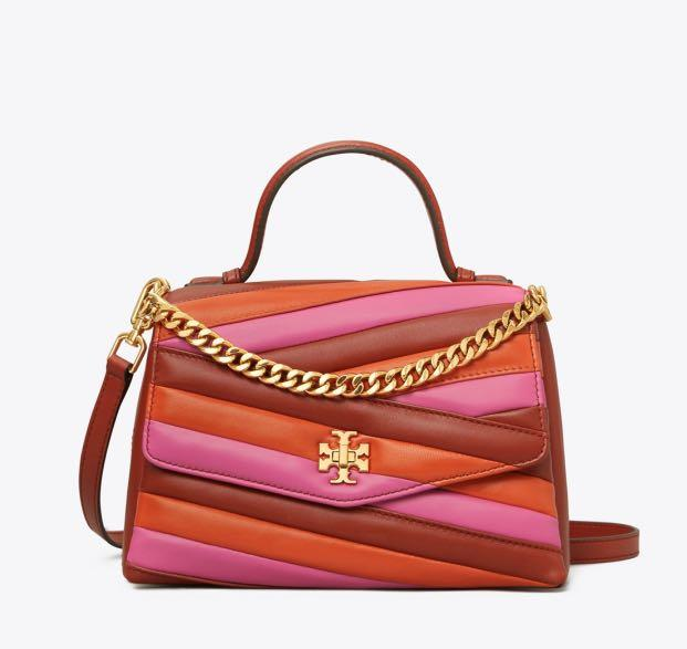 Authentic Tory Burch Kira chelvon colour block top handle sling bag in pink crossbody bag