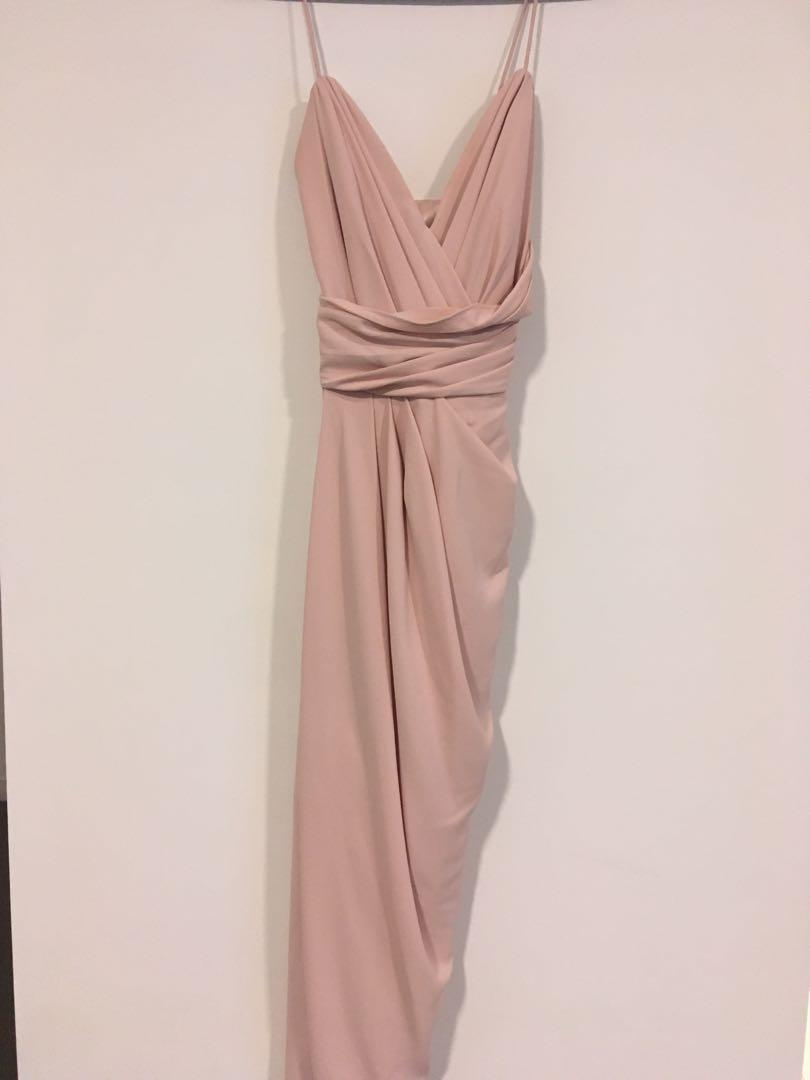 Forever New Charlotte Drape dusty pink bridesmaid dress