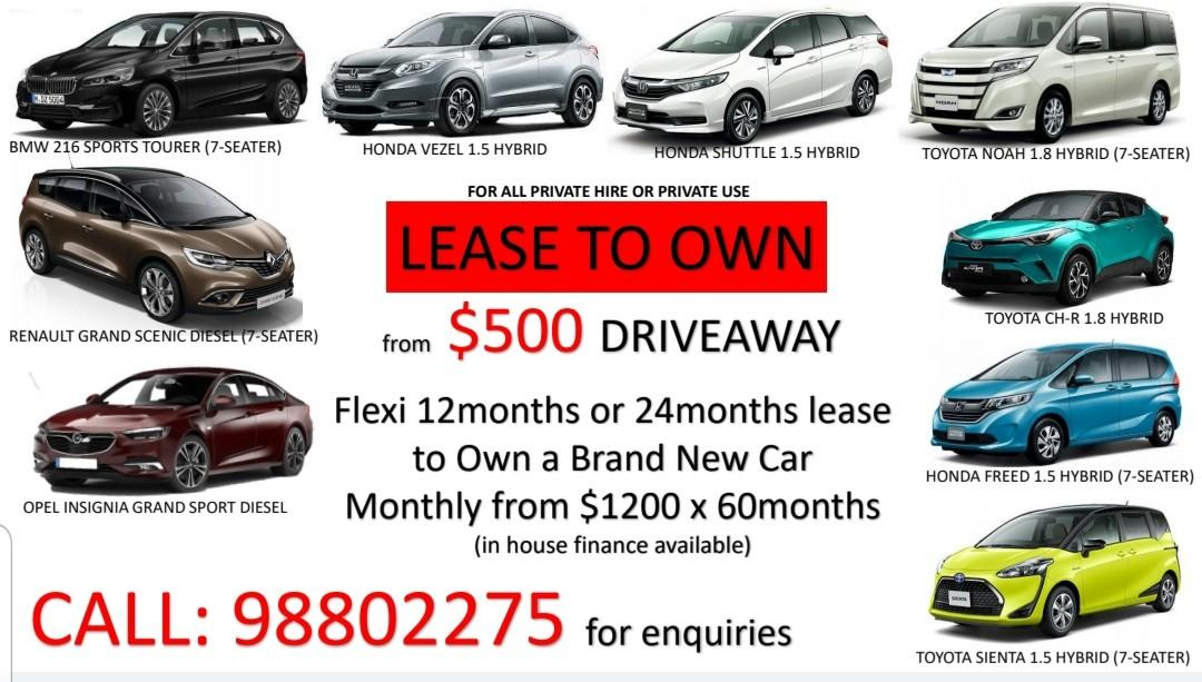 Lease to own vehicles
