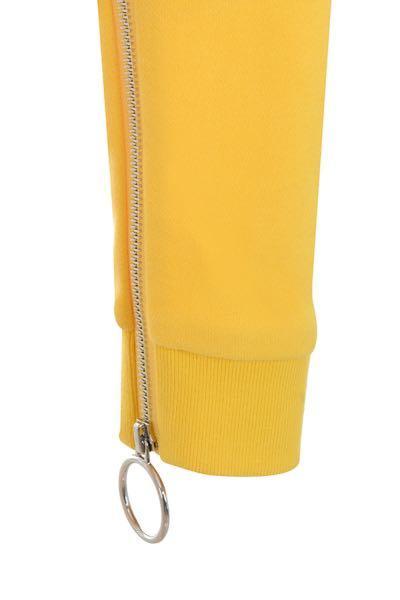 "Mistress Rocks - ""Flame"" Yellow Cropped Zip Front Sweatshirt"