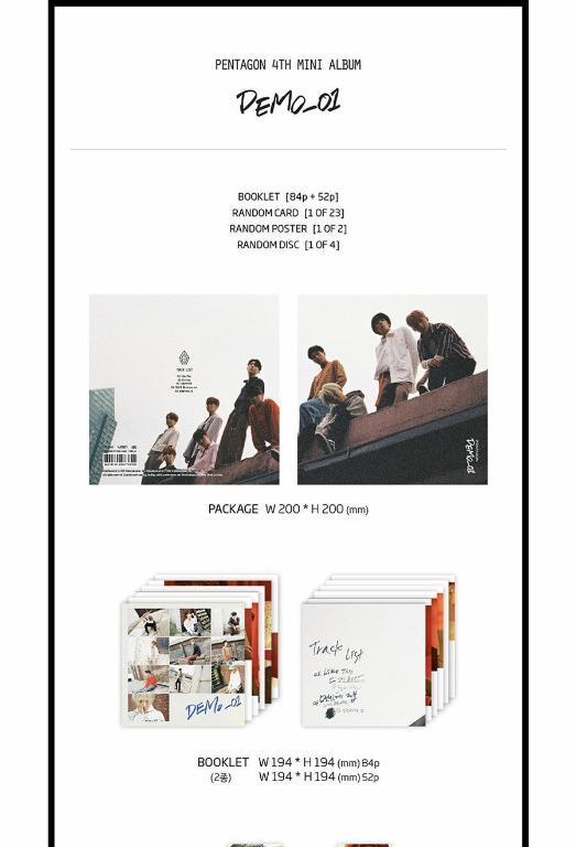 [Ready Stoclk]PENTAGON [DEMO_01] 4th Mini Album CD+2ea PhotoBook+Card
