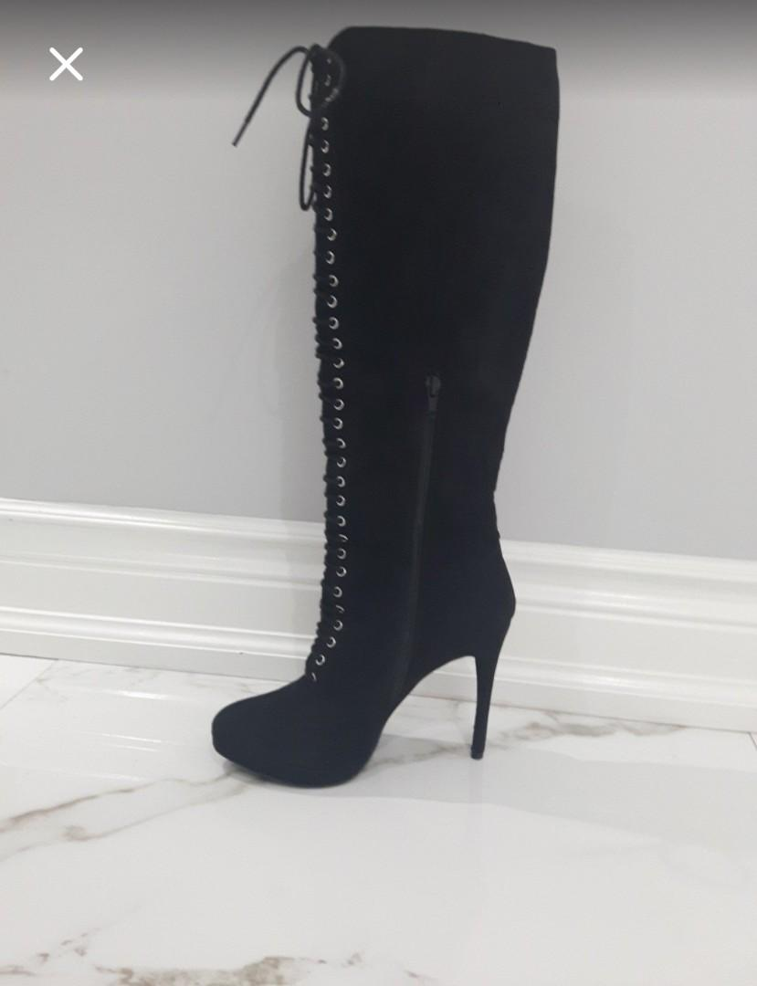 JUST LOWERED-SIZE 7 FAUX SUEDE KNEE WEDGE LACE AND ZIPPER BOOTS