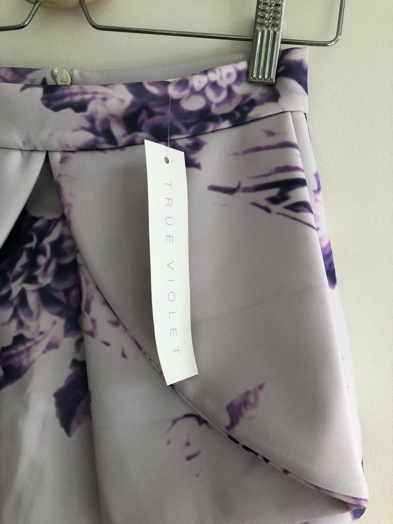 True Violet purple floral print scuba peplum pencil skirt